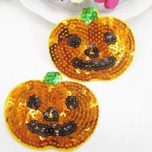 Other - 2pc Pumpkin Jack O lantern Sequin Iron on Patches